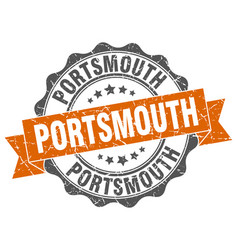 Portsmouth round ribbon seal vector