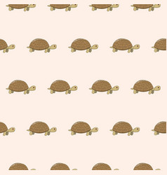 Seamless pattern with cute cartoon turtle vector