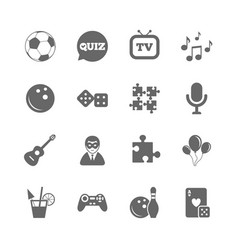 set of games entertainment and services icons vector image