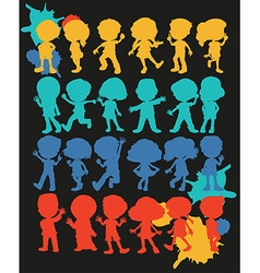 Silhouette boys and girls vector image vector image
