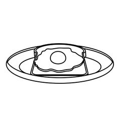 silhouette monochrome of dish with bread and egg vector image
