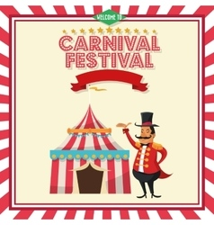 Striped tent and circus man of carnival design vector
