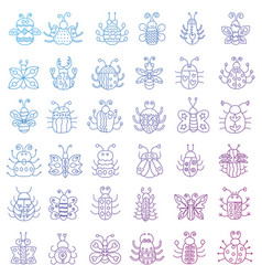 Thin line insects icons set color stroke outline vector