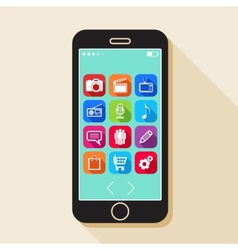 with a mobile phone flat icons for web and mobile vector image vector image