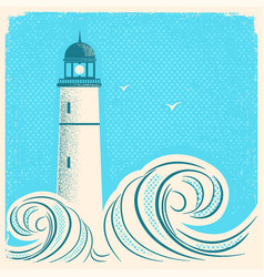 Lighthouse blue poster seascape image on old paper vector