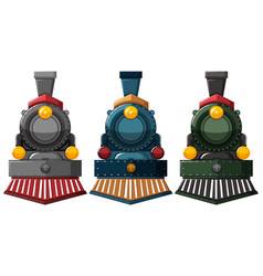 Steam engine designs in three colors vector