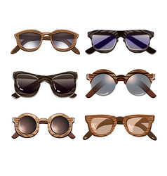 Colorful fashionable hipster sunglasses set vector