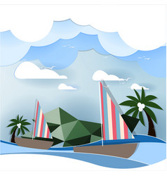 Paper art sailing boat on the sea concept vector