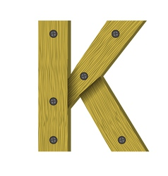 1633wood letter K vector image