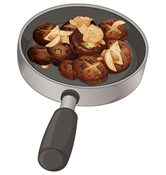 A pan with nuggets vector