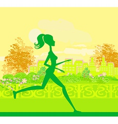 Jogging girl silhouette n summer vector