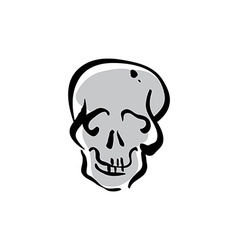 Hand drawn human skull icon vector
