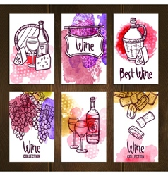 Wine cards set vector