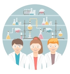 Kids in chemistry class flat education concept vector
