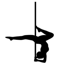 Pole dancer in pole dance  stand on the elbows vector