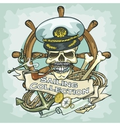 Captain skull logo design - sailing collection vector
