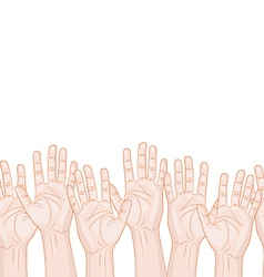 Raised hands horizontal seamless pattern vector