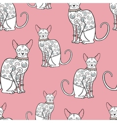 Seamless pattern with sphinx cat vector image