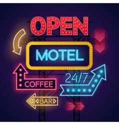 Neon motel cafe and bar signs set vector