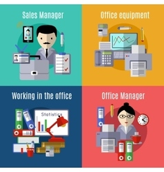 Office flat icon set vector