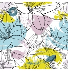 Color spots lily seamless pattern vector image