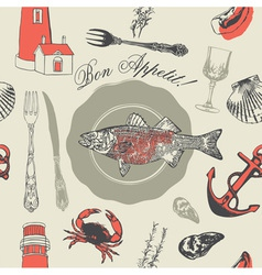 Seafood fish pattern vector