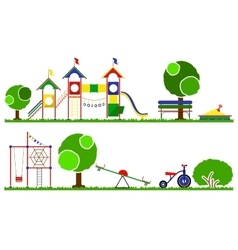 Kids playground color set swings roundabouts vector