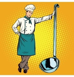 Professional chef with ladle vector