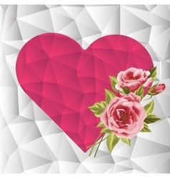 Pink triangle geometrical heart with roses vector