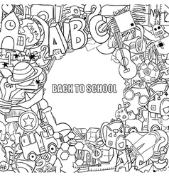 Back to school objects background drawing by hand vector image