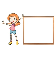 A girl holding an empty wooden blank board vector image vector image