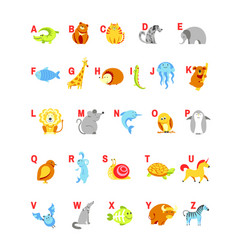 alphabet cartoon animals with letters for child vector image vector image