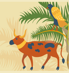 ancient spotted cow and falcon sacred symbols of vector image
