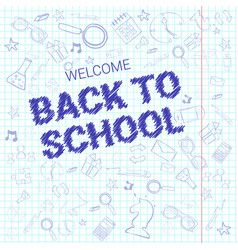 Back to school doodle label hand drawn on squared vector