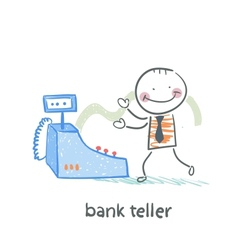bank teller with the apparatus vector image