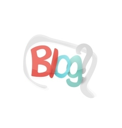 Blog word drawn lettering typographic element vector