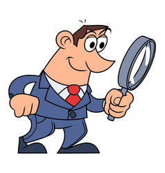 Businessman is looking through the loupe vector