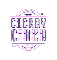 Cherry cider logo in vintage style vector