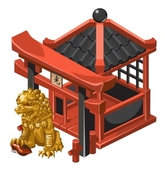 Chinese-style pavilion and guardian golden lion vector