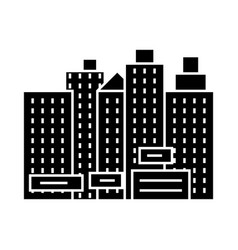 City - new town icon blac vector