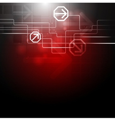 Concept dark red technology design vector image vector image