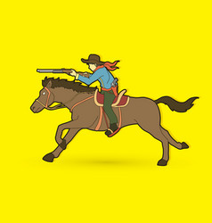 cowboy riding horse aiming rifle graphic vector image