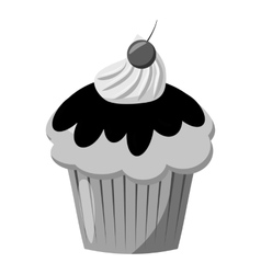 Cupcake icon gray monochrome style vector image