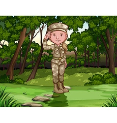Female army soldier in forest vector