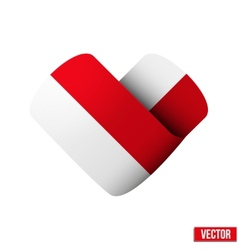 Flag icon in the form of heart I love Monaco vector image