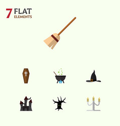 Flat icon festival set of broom casket witch cap vector