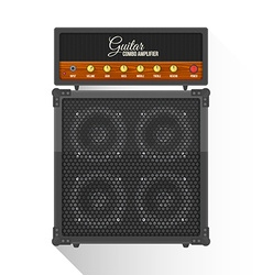 Flat style electric guitar combo amplifier cabinet vector