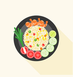 fried rice with shrimp in thai style vector image vector image