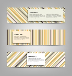 Horizontal banners with abstract stripes template vector image vector image