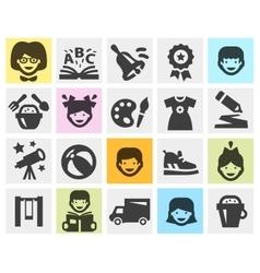Kindergarten school set black icons signs and vector